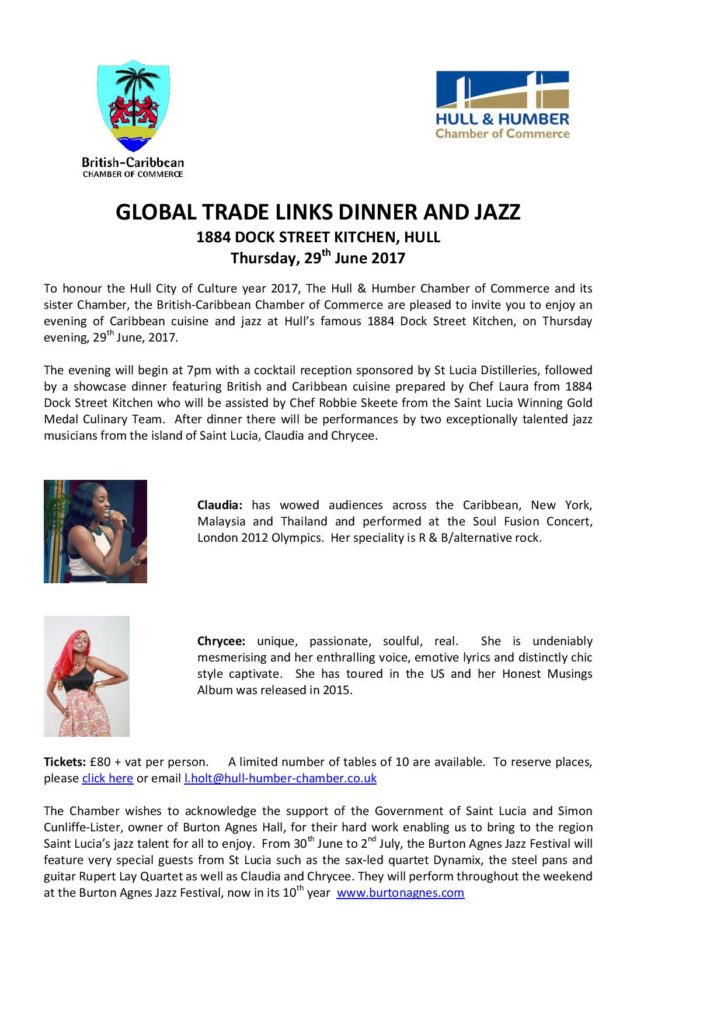 Global Trade Links Dinner and Jazz @ 1884 Dock Street Kitchen | England | United Kingdom